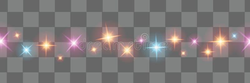 Elementos isolados do projeto das luzes de Natal ilustração stock