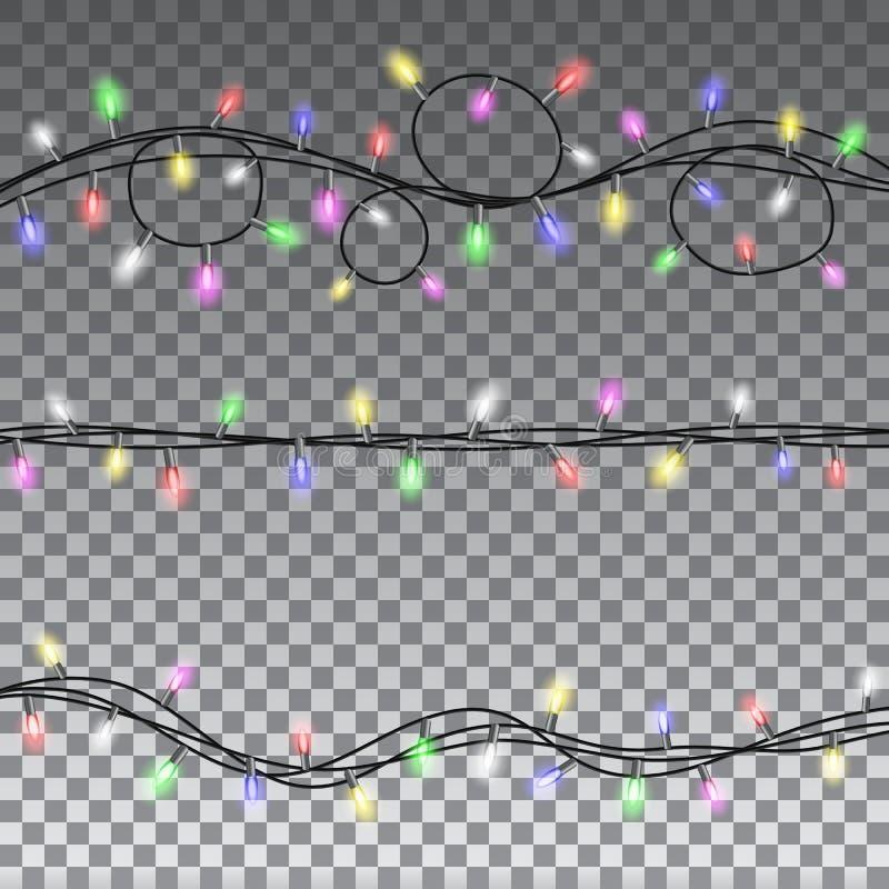 Elementos isolados do projeto das luzes de Natal ilustração royalty free