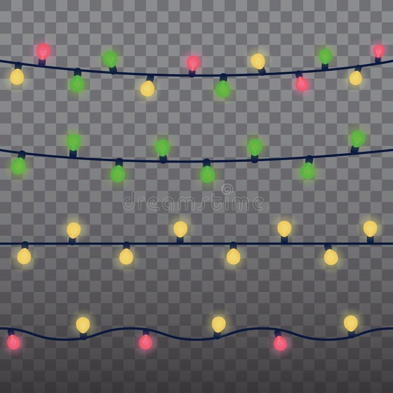 Elementos isolados do projeto das luzes de Natal Luzes de incandescência para o projeto de cartão do feriado do Xmas Natal das fe ilustração royalty free