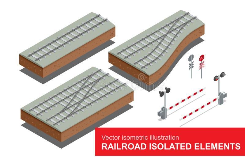 Elementos isolados estrada de ferro para o transporte do frete de trilho Vector a ilustração 3d isométrica lisa do sinal da estra ilustração royalty free