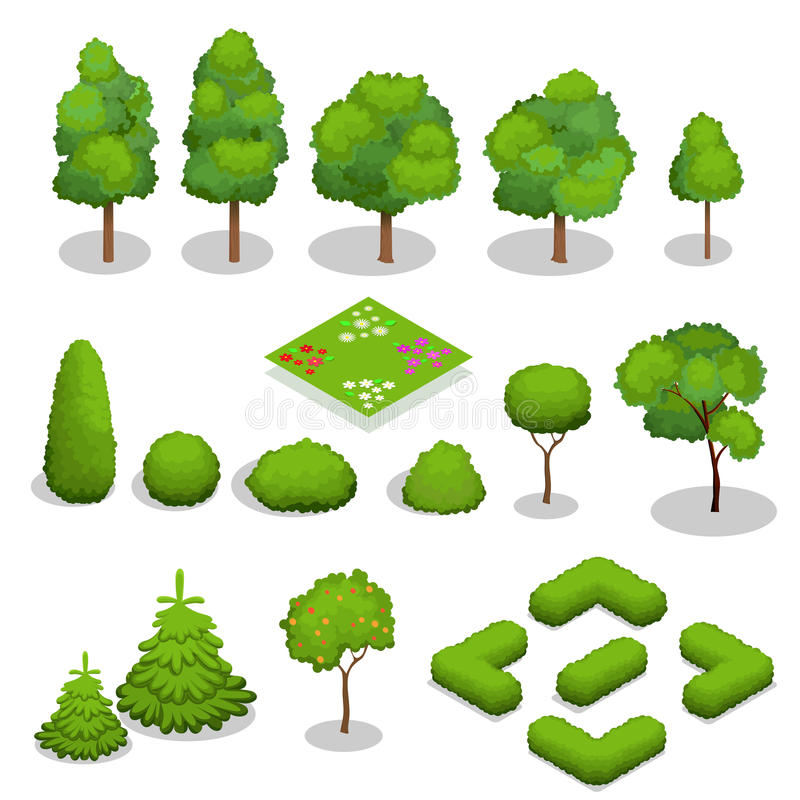 Elementos isométricos das árvores do vetor para a paisagem ilustração stock