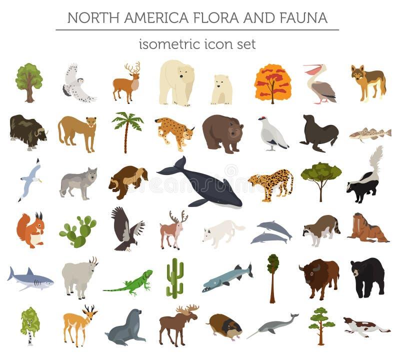 Elementos isométricos de la flora y de la fauna de 3d Norteamérica Animales, BI stock de ilustración