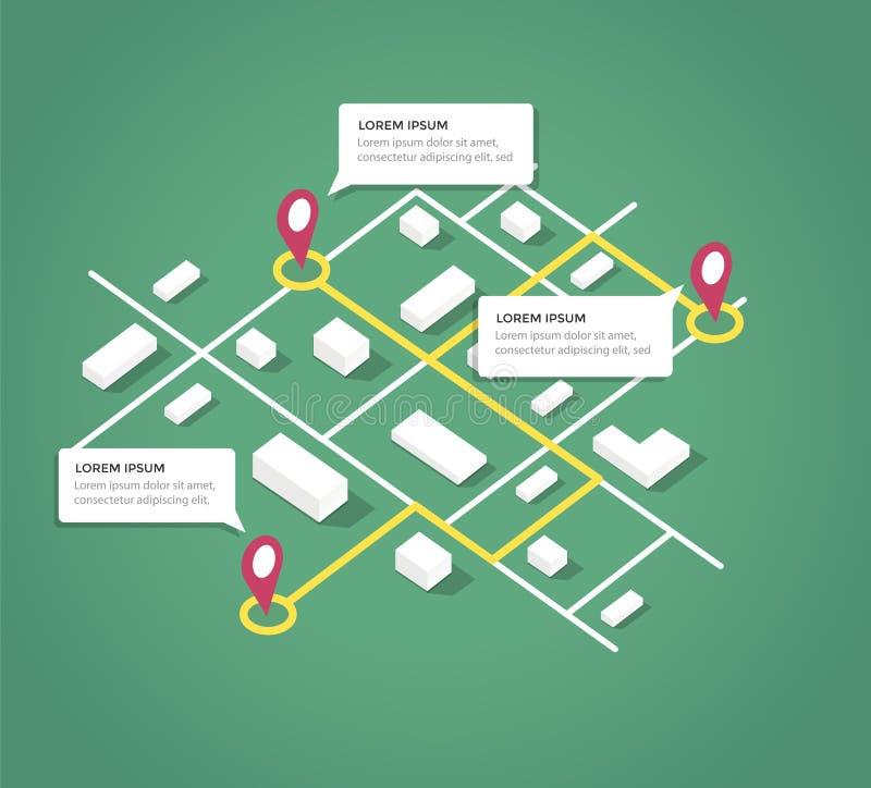 Elementos isométricos del diseño del mapa de la ciudad imágenes de archivo libres de regalías