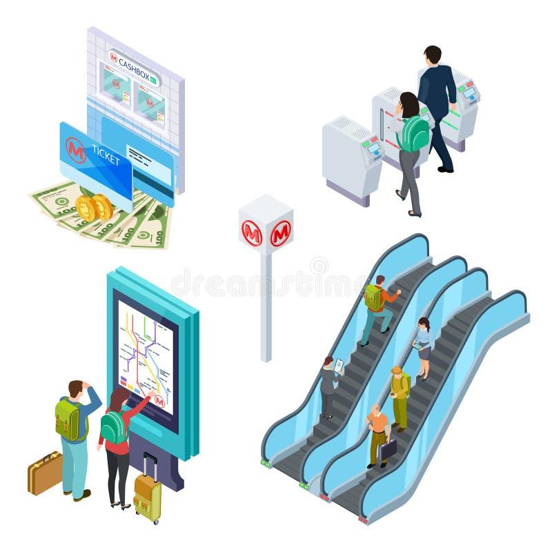 Elementos isométricos del metro Escalera móvil del subterráneo, torniquete, mostrador de información con la gente metro 3d stock de ilustración