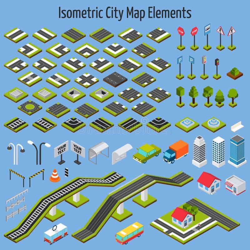 Elementos isométricos do mapa da cidade ilustração royalty free