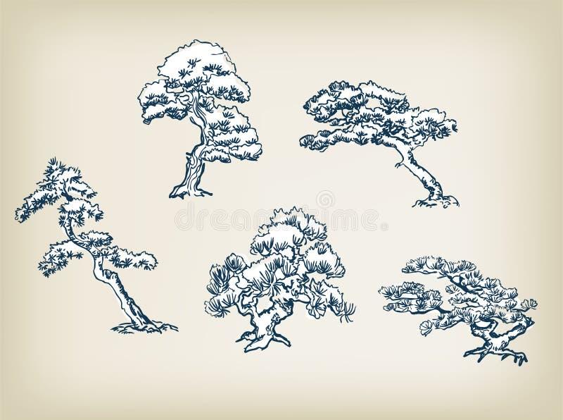 Elementos japoneses del diseño de sistema del ejemplo del vector del pino stock de ilustración
