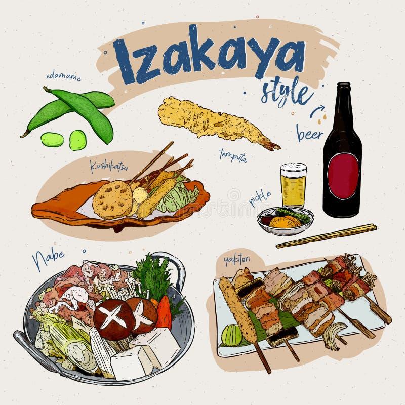 Elementos japoneses do alimento, estilo de Izakaya vetor do esbo?o da tra??o da m?o ilustração royalty free