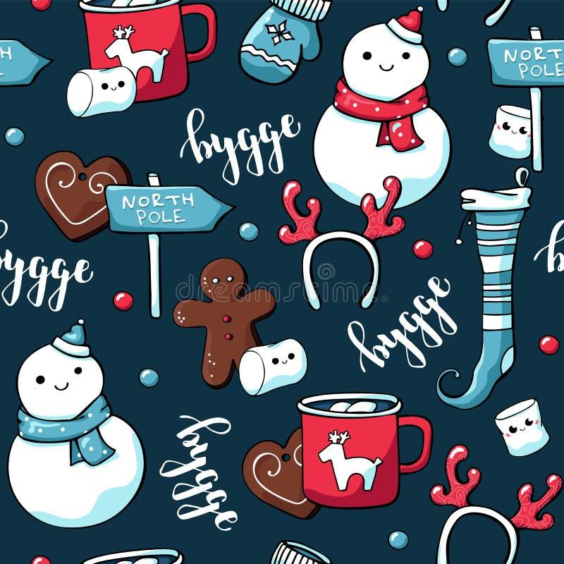 Elementos lindos de la Navidad del garabato Modelo inconsútil exhausto de la mano del vector con las letras del hygge y las velas stock de ilustración