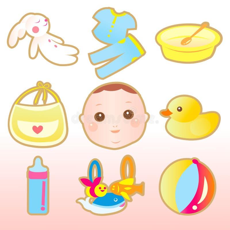Elementos lindos del bebé stock de ilustración