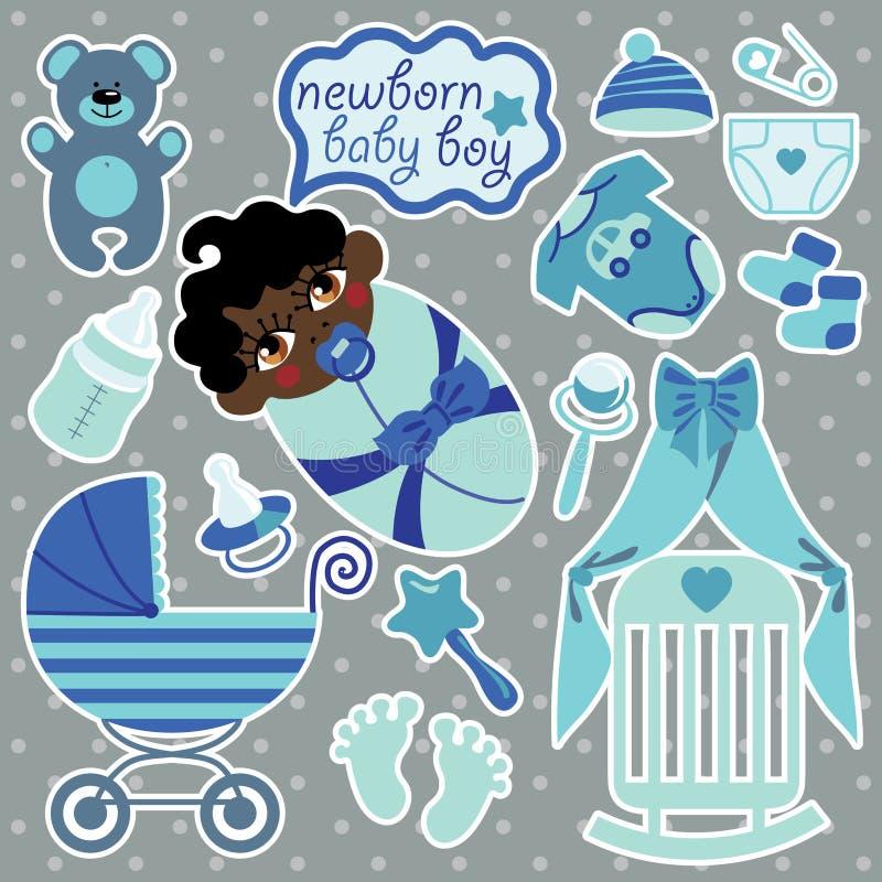 Elementos lindos para el bebé recién nacido del mulato stock de ilustración