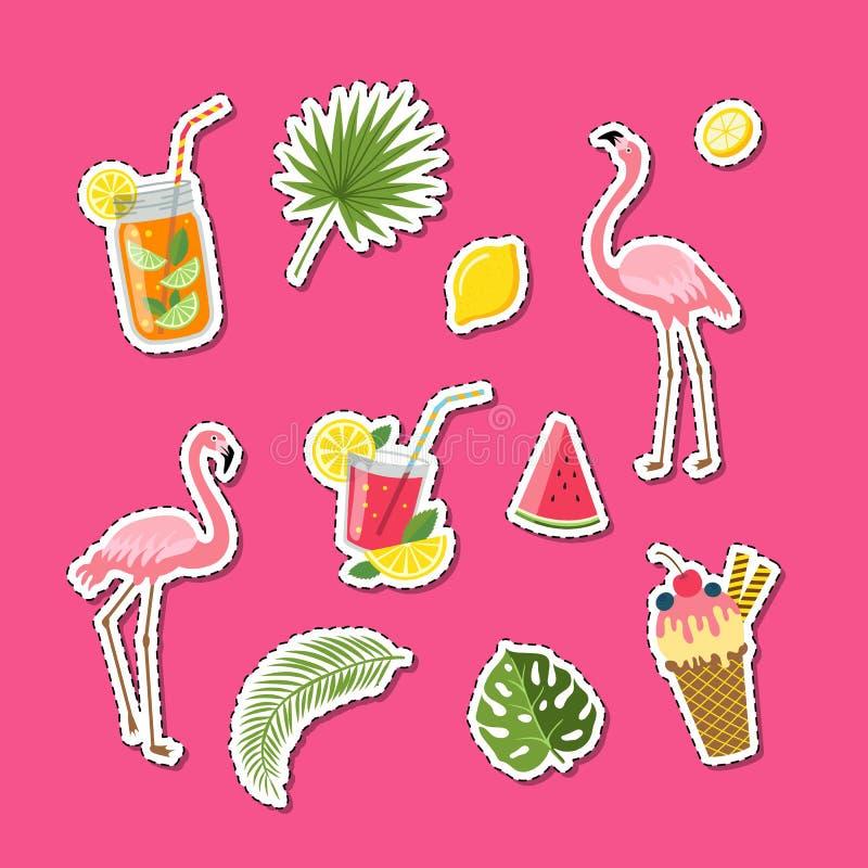 Elementos lindos planos del verano del vector, cócteles, flamenco, ejemplo del sistema de las etiquetas engomadas de las hojas de stock de ilustración