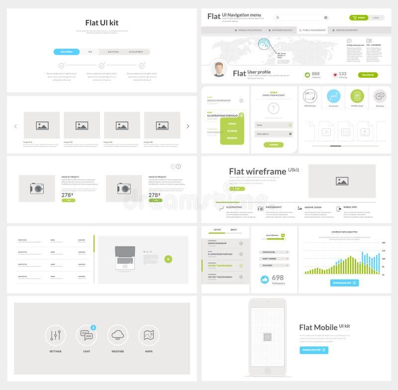 Elementos lisos da navegação do Web site com bandeiras e ícones do conceito ilustração stock