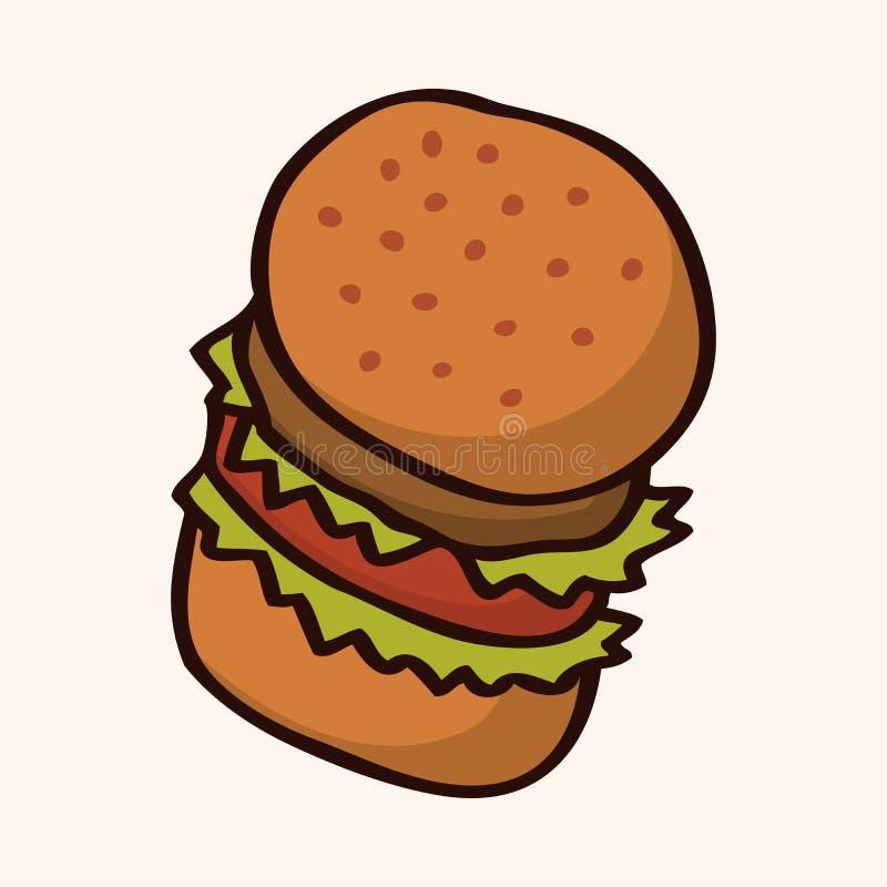 Elementos lisos do ícone do Hamburger do fast food, eps10 ilustração do vetor