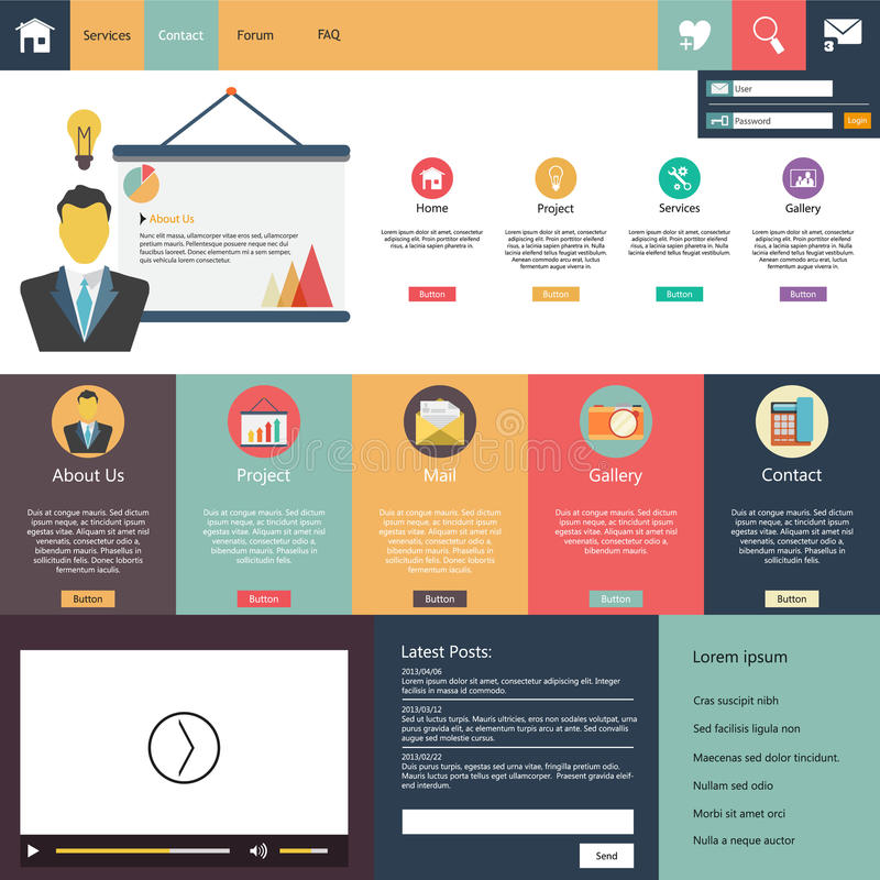 Elementos lisos do design web, botões, ícones. Molde do Web site.
