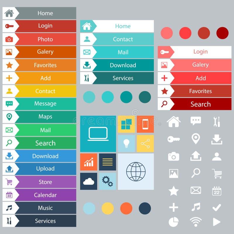 Elementos lisos do design web, botões, ícones Moldes para o Web site ilustração stock