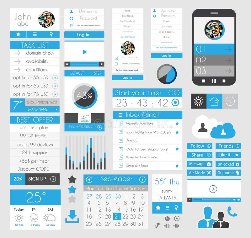 Elementos lisos do projeto de UI para a Web, Infographics, ilustração do vetor