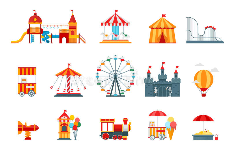 Elementos lisos do vetor do parque de diversões, ícones do divertimento, no fundo branco com roda de ferris, castelo, atrações ilustração stock