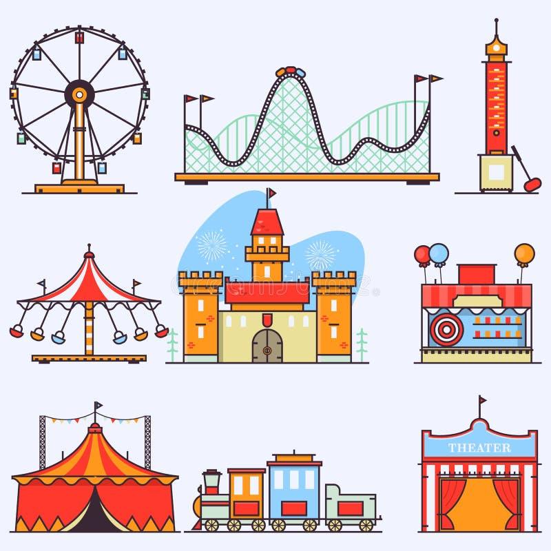 Elementos lisos do vetor do parque de diversões isolados no fundo branco Ilustrações lineares do estilo isoladas no branco ilustração do vetor