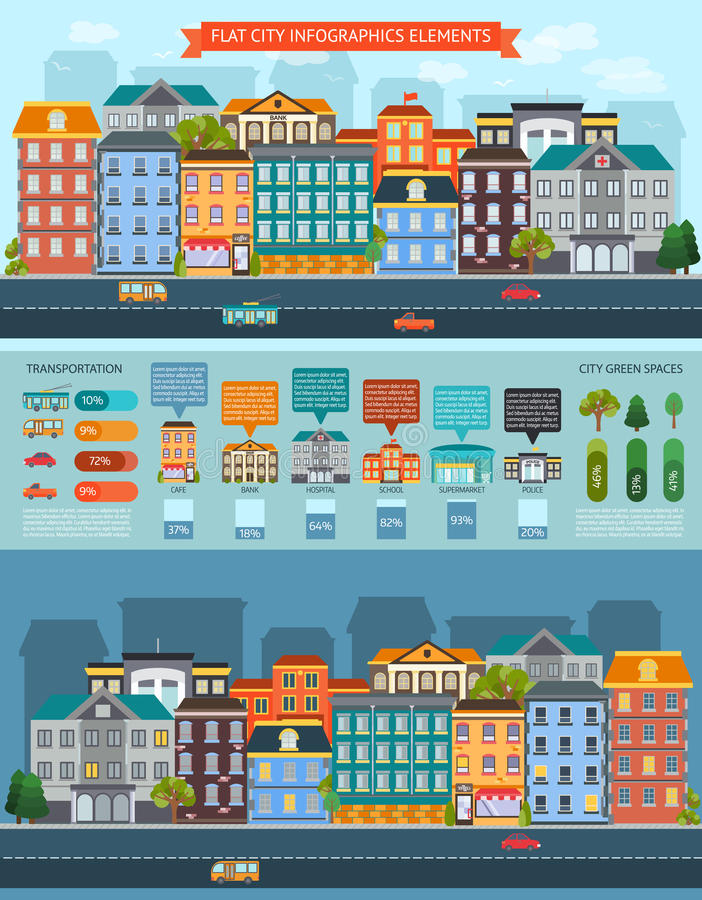 Elementos lisos Infographics da cidade ilustração do vetor