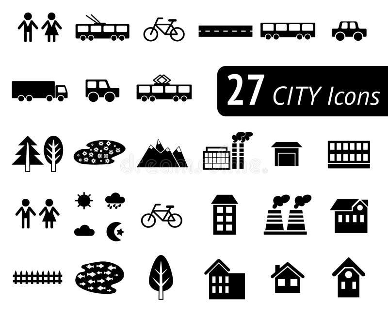Elementos lisos monocromáticos diferentes da cidade para criar seu próprio mapa Vetor infographic ilustração stock