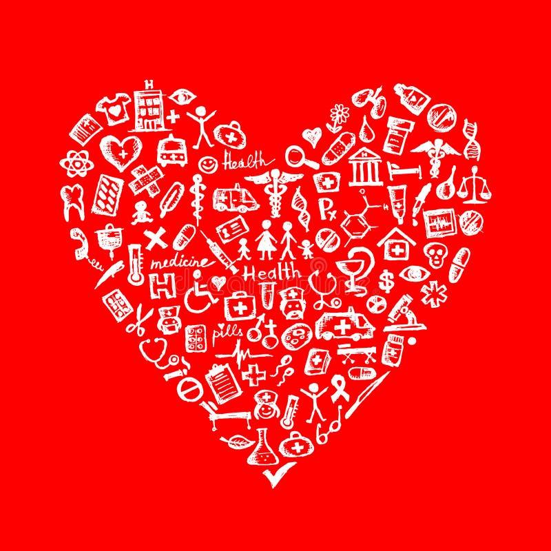 Elementos médicos do projeto na forma do coração ilustração stock