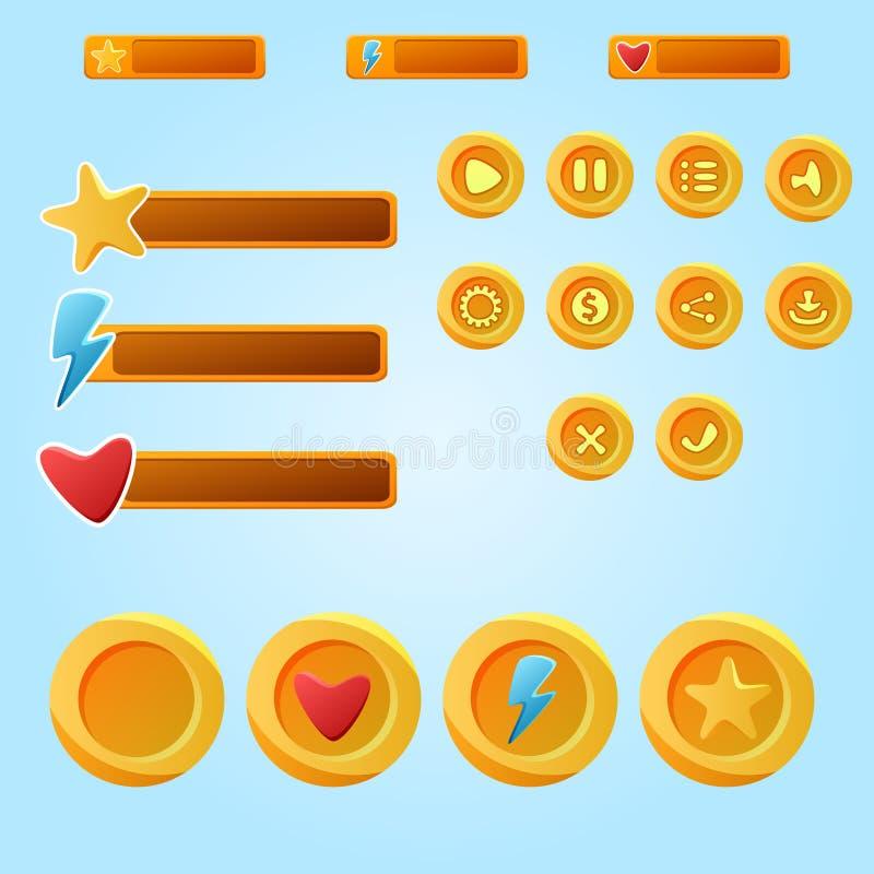 Elementos móveis amarelos brilhantes para o jogo de Ui - um developme do jogo do grupo ilustração royalty free