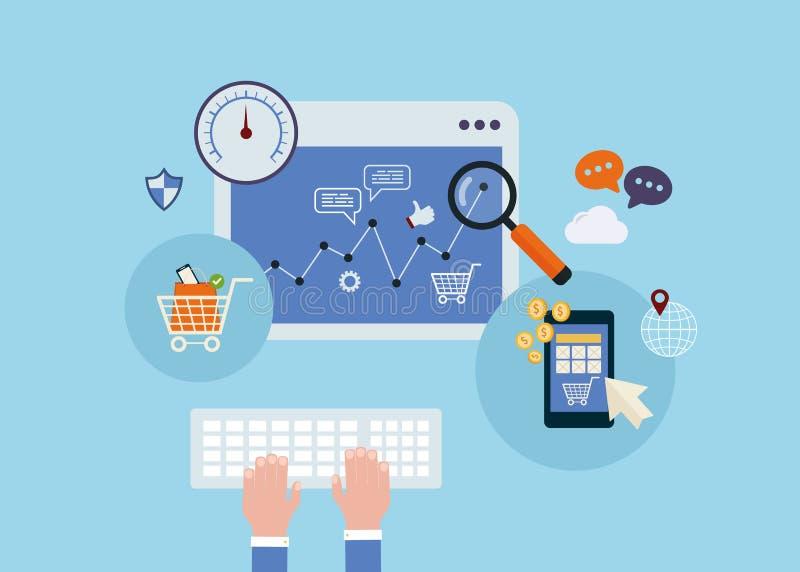 Elementos móviles del márketing stock de ilustración