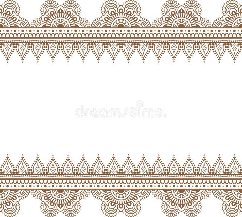 Elementos marrones inconsútiles del modelo de la alheña de la frontera con las flores y líneas del cordón en el estilo indio del  libre illustration