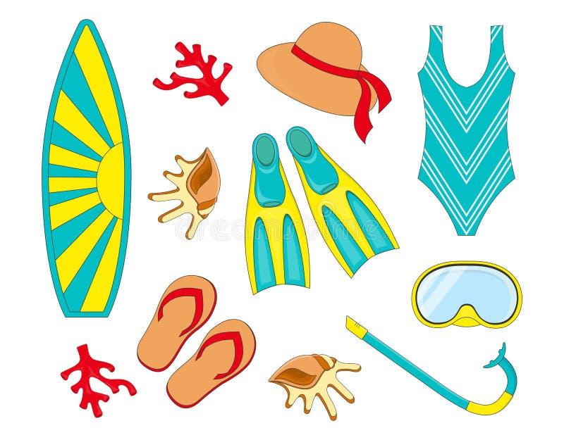 Elementos mergulhando e surfando ilustração stock