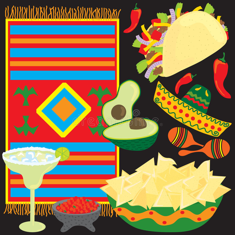 Elementos mexicanos do partido da festa ilustração do vetor