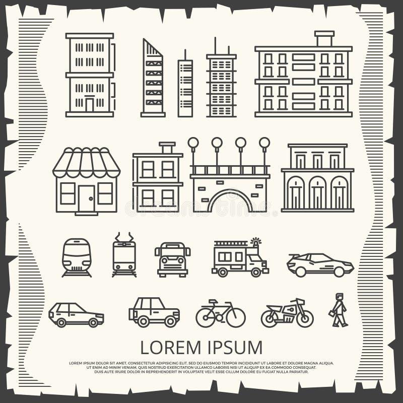 Elementos modernos de la ciudad en el cartel del vintage - línea diseño del cartel de la ciudad del arte ilustración del vector