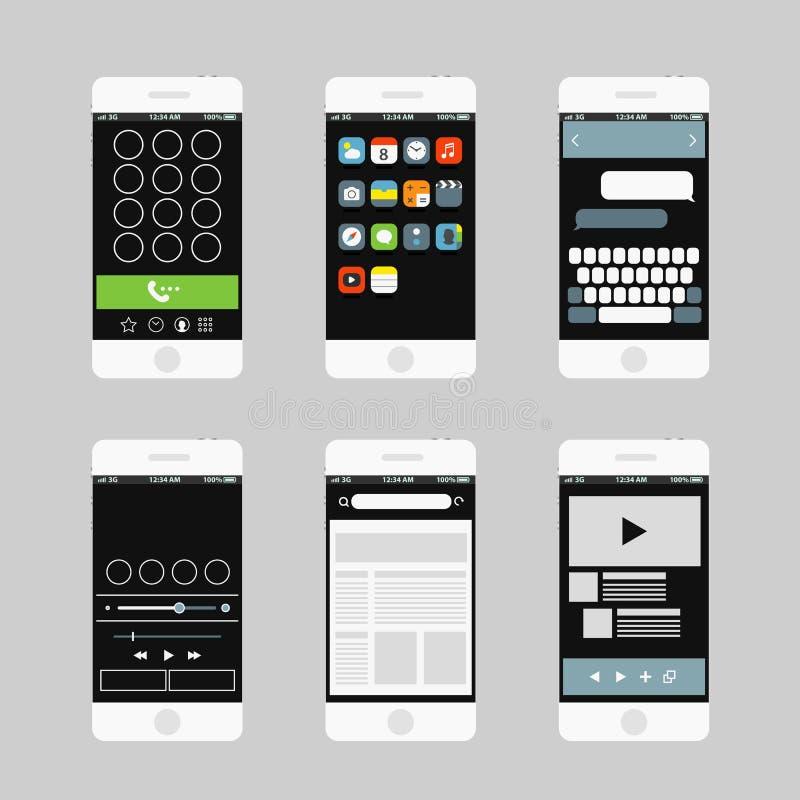 Elementos modernos del interfaz del smartphone stock de ilustración
