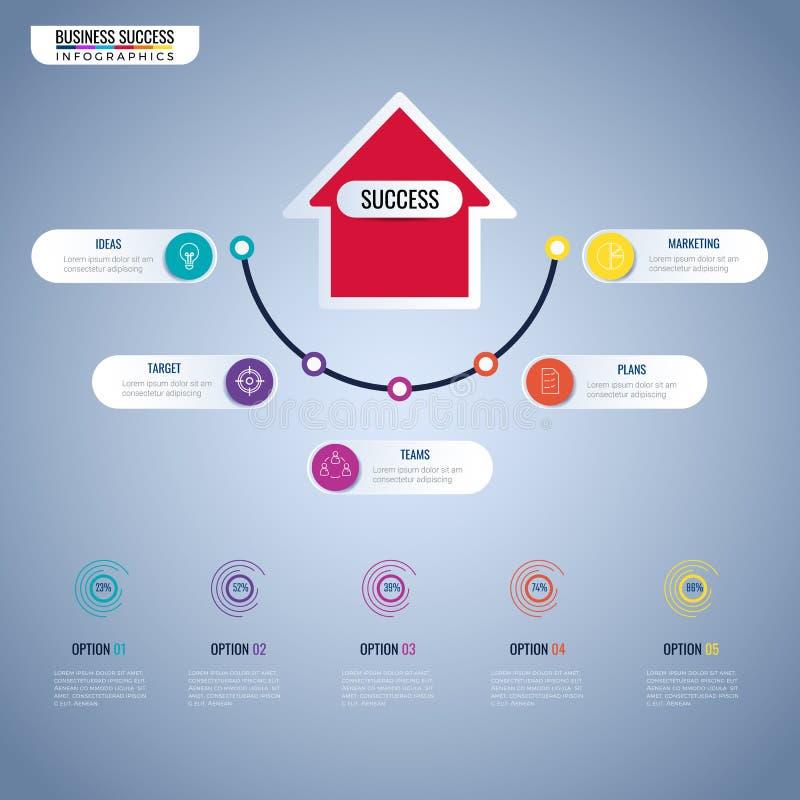 Elementos modernos do infographics da seta Etapa ao molde infographic do conceito do negócio do sucesso pode ser usado para a dis ilustração royalty free
