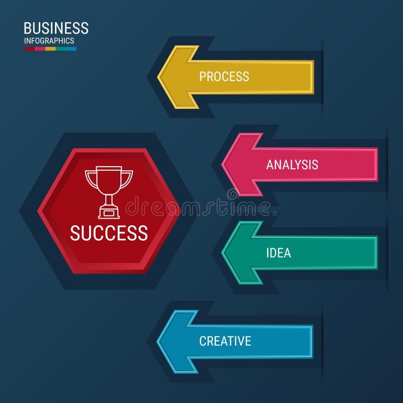 Elementos modernos do infographics da seta Molde infographic do conceito bem sucedido do negócio ilustração stock