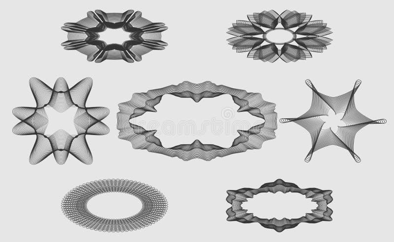 Elementos monocromáticos ajustados do guilloche para o projeto de diplomas protetores dos sinais, vales ou certificados, e assim  ilustração royalty free