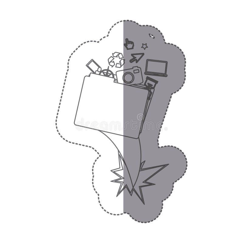 elementos monocromáticos de la carpeta y de la tecnología de la silueta de la etiqueta engomada stock de ilustración