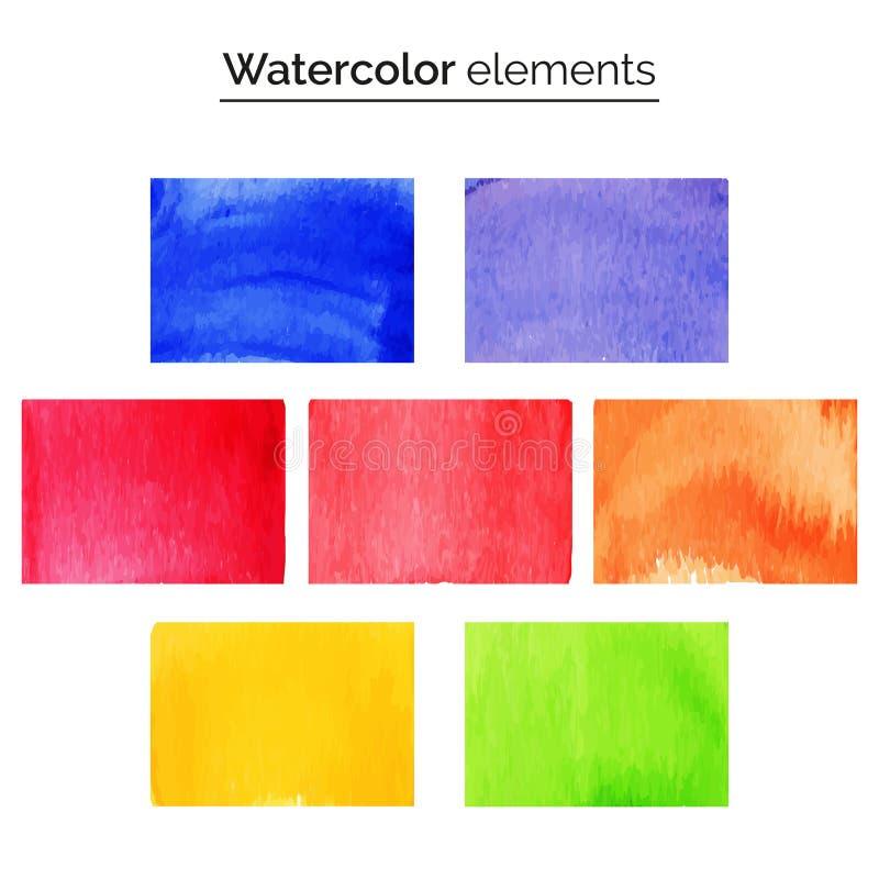 Elementos multicolores del diseño de la acuarela Fije los rectángulos aislados de la pintura de la acuarela stock de ilustración