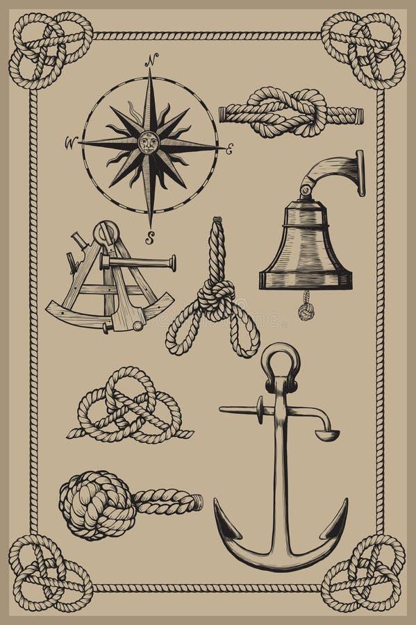 Elementos náuticos ilustração stock