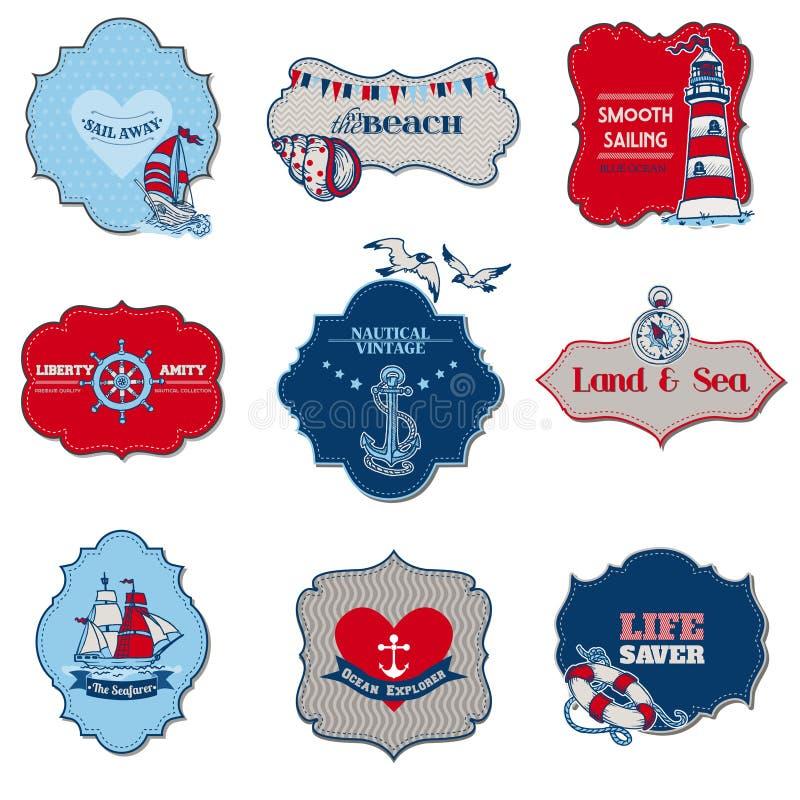 Elementos náuticos de la etiqueta del mar libre illustration