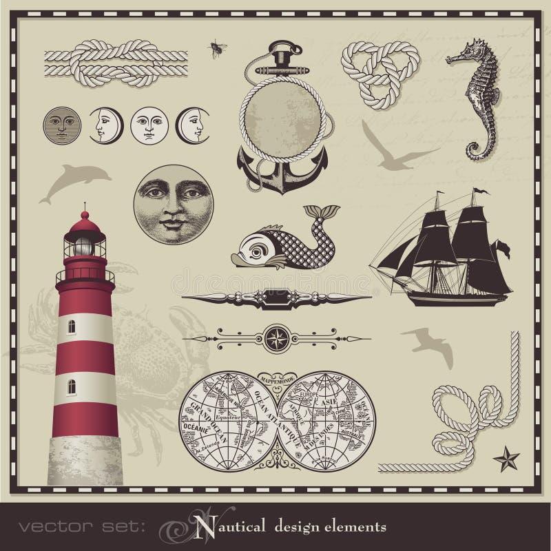 Elementos náuticos del diseño stock de ilustración