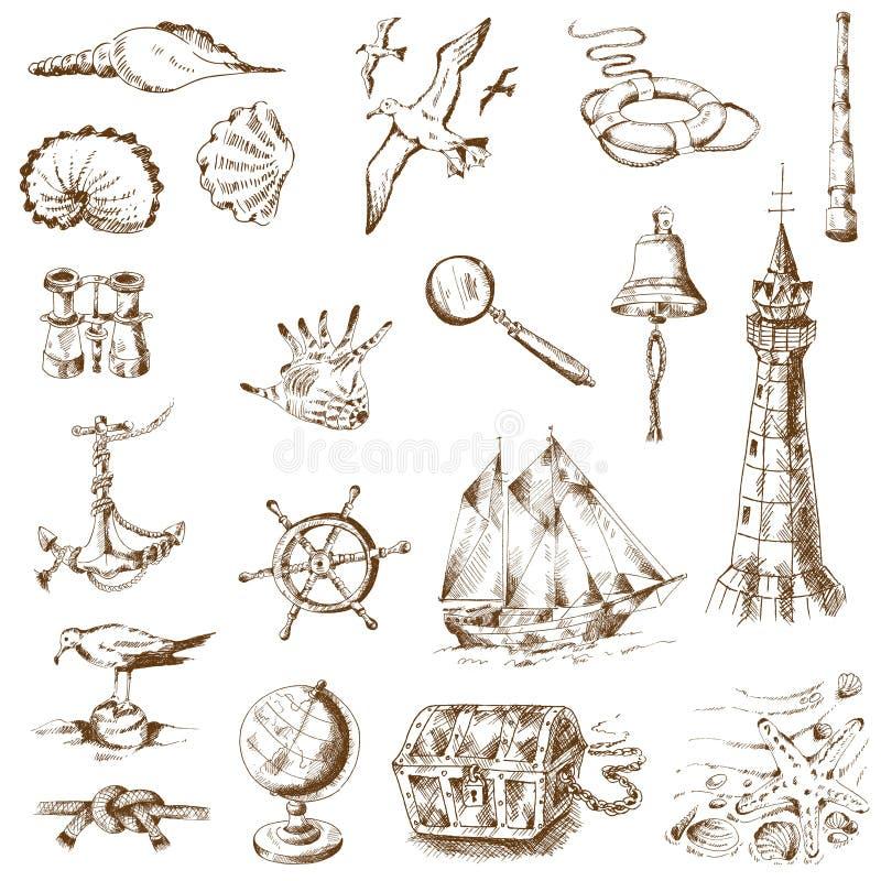 Elementos náuticos do projeto do mar ilustração royalty free