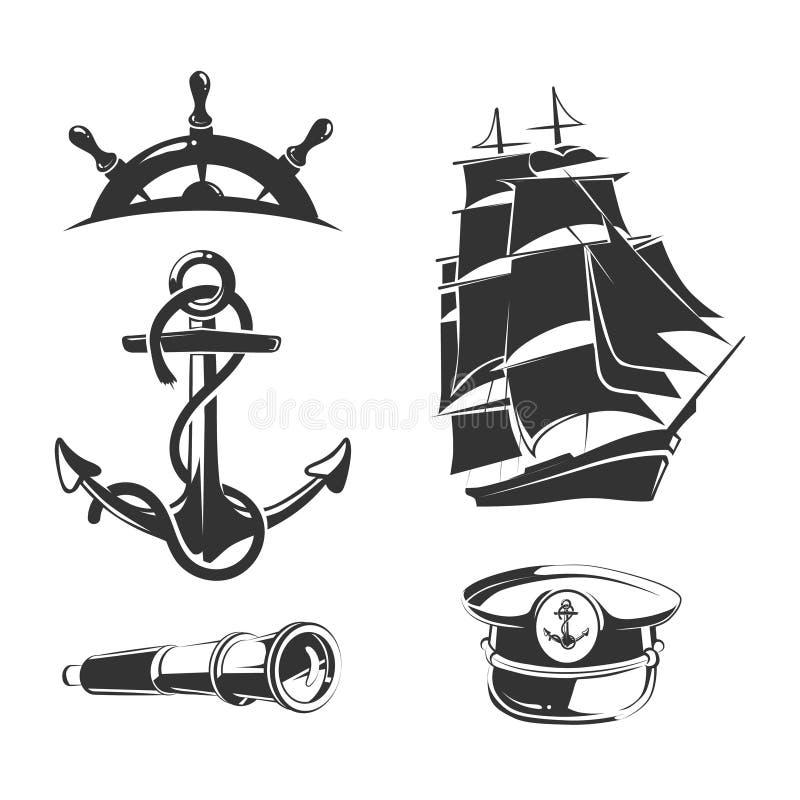 Elementos náuticos do vetor para etiquetas do vintage ilustração do vetor