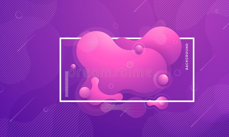 Elementos na moda do projeto do inclinação fluido, líquido Fundo líquido roxo do sumário ilustração royalty free