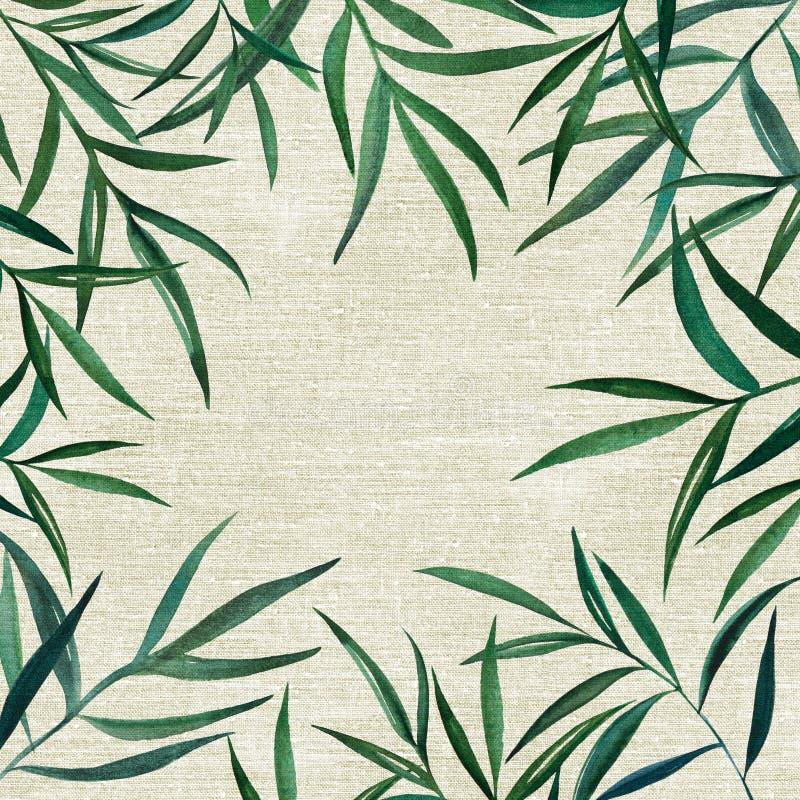 Elementos naturais botânicos da aquarela no linho ilustração do vetor