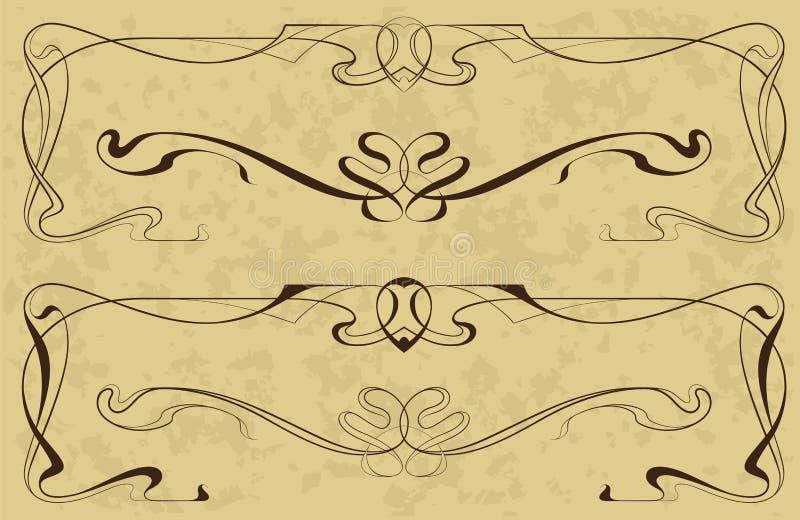 Elementos no art nouveau do estilo ilustração do vetor
