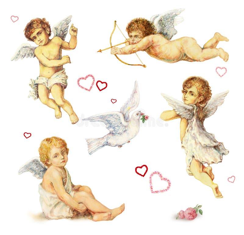 Elementos nostálgicos del diseño: ángeles, palomas y rosas stock de ilustración