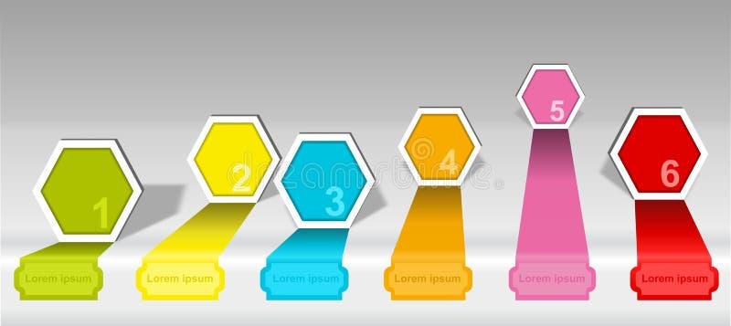 Elementos numerados cronología de las opciones del hexágono de Infographics ilustración del vector