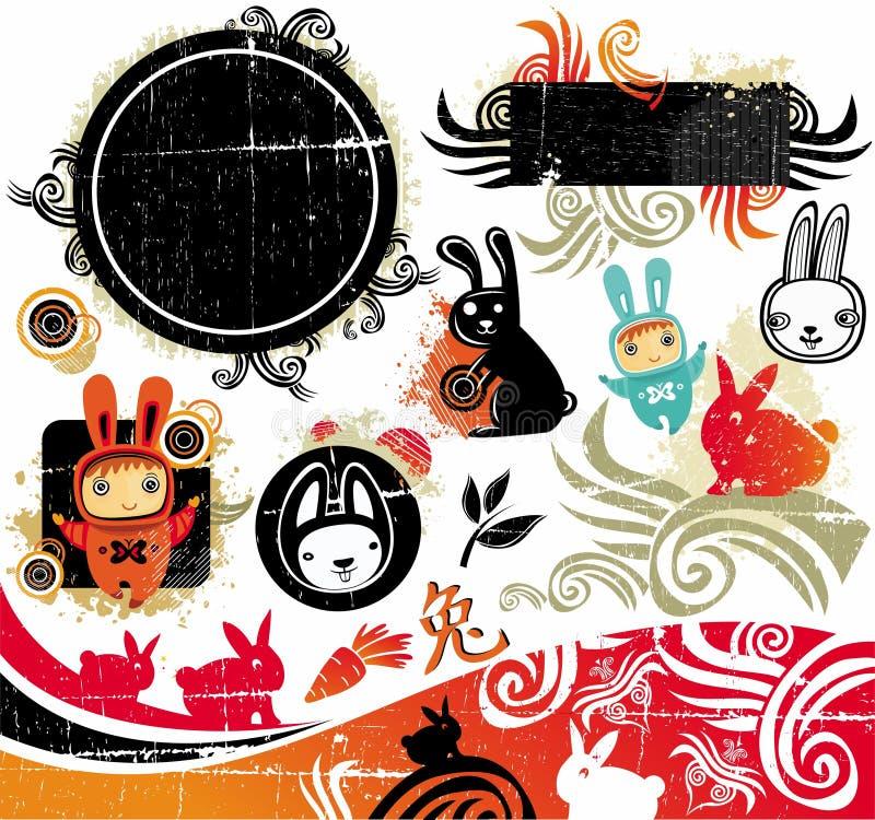 Elementos orientais do projeto do coelho ilustração royalty free