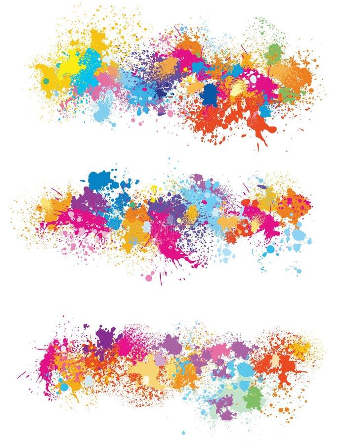 Elementos para el diseño de manchas de la pintura ilustración del vector