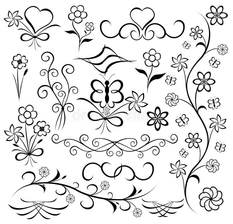 Elementos para el diseño (flor, mariposa, corazón), vector stock de ilustración